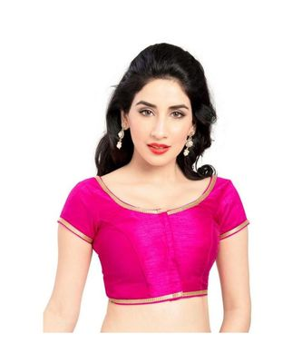 pinl with  lace border  banglori silk unstiched blouse fabric