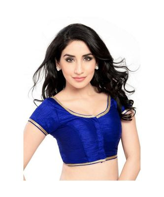 royal blue with  lace border  banglori silk unstiched blouse fabric