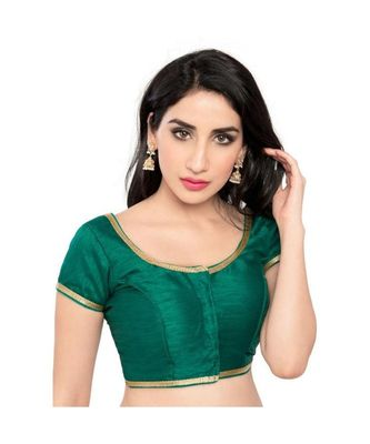 green with  lace border  banglori silk unstiched blouse fabric