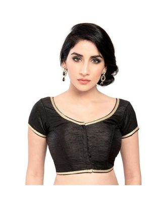 black with  lace border  banglori silk unstiched blouse fabric