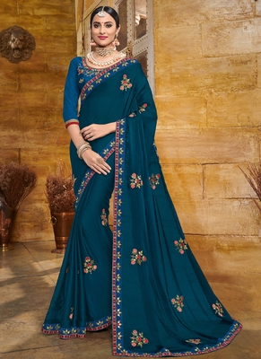 Violet embroidered georgette saree with blouse
