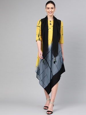 Yellow printed polyester long-kurtis
