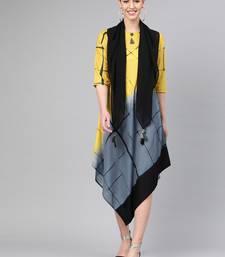 Yellow printed polyester long-kurtis
