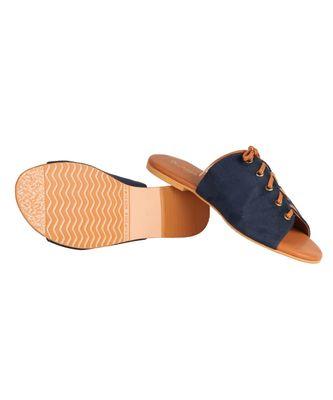 navy blue tan  sliders