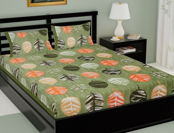 Green Color Cotton Double Floral Print Bedsheet