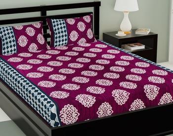 Pink Color Cotton Double Paisley Bedsheet