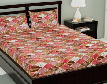 Brown Color Cotton Double Checked Bedsheet