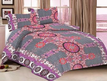 Grey Color Cotton Double Geometric Bedsheet