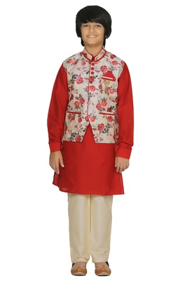 Red plain cotton silk boys-kurta-pyjama