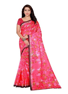 Light baby pink printed linen saree with blouse