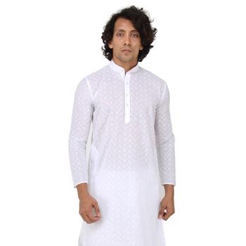 White woven cotton kurta-pajama
