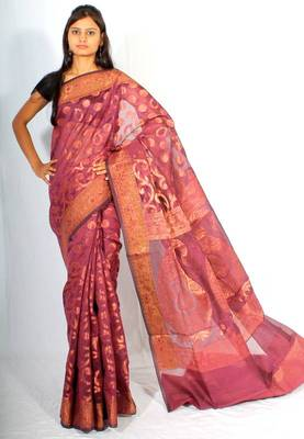 Fancy check Multi Pallu banarasi saree