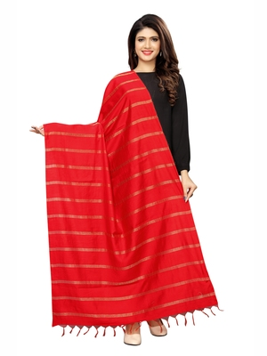 Red Cotton Silk Zari Woven Womens Dupatta