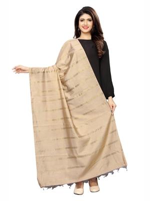 Beige Cotton Silk Zari Woven Womens Dupatta