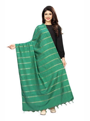 Teal Green Cotton Silk Zari Woven Womens Dupatta