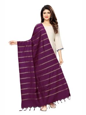 Purple Cotton Silk Zari Woven Womens Dupatta