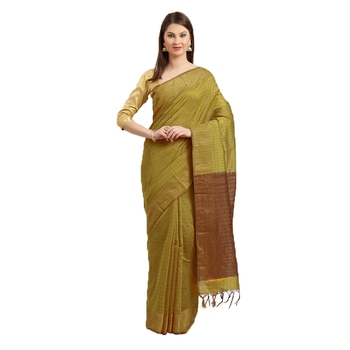 Mustarnd & Brown Woven And Tassels Silk Blend Saree With Blouse