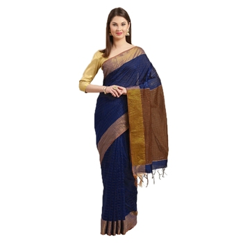 Navy Blue & Brown Woven And Tassels Silk Blend Saree With Blouse