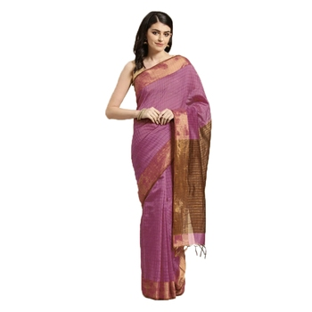Pink & Brown Woven And Tassels Silk Blend Saree With Blouse