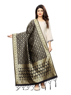 Black Poly Silk Banarasi Womens Dupatta