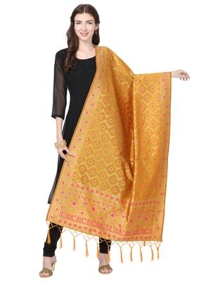 yellow Poly Silk Banarasi Womens Dupatta