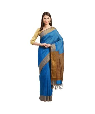 Blue & Brown Woven And Tassels Silk Blend Saree With Blouse