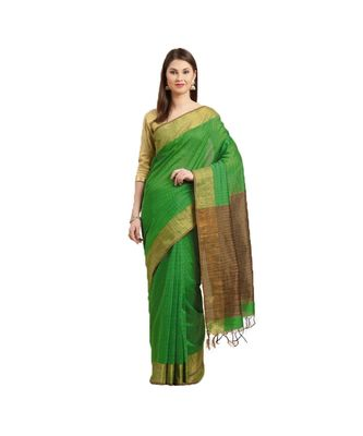 Green & Brown Woven And Tassels Silk Blend Saree With Blouse