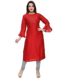 Red plain polyester ethnic-kurtis