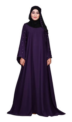 Purple Color Women'S Nida Plain Abaya Burka With Hijab Scarf