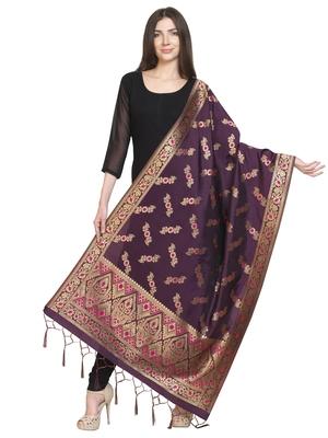 Purple Poly Silk Banarasi Womens Dupatta