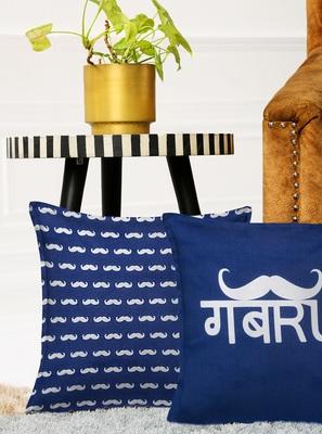 Blue Set of 2 Gabru Square Cushion Covers