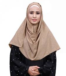 Beige Color Chiffon Embossed Square Scarf Hijab Dupatta For Women