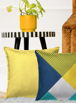 HOUZZCODE Yellow Set of 2 Geometrical Square Cushion Covers