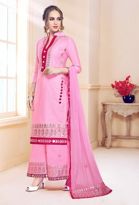 Light-pink embroidered cotton salwar