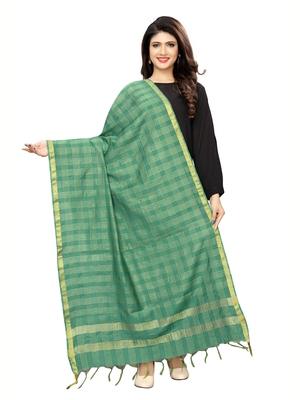 Green Poly Silk Zari Woven Checks Womens Dupatta