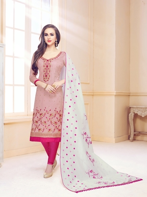 Pink embroidered cotton salwar