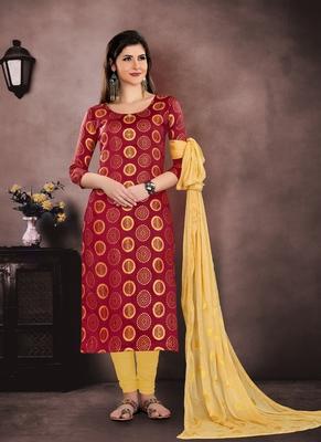 Maroon embroidered cotton salwar