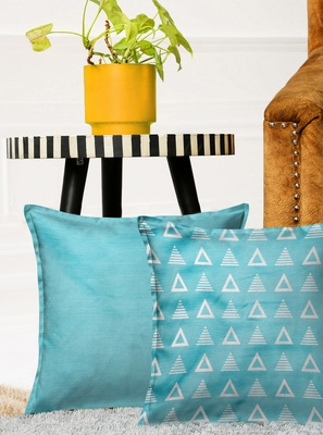 HOUZZCODE Multicoloured Set of 2 Solid Square Cushion Covers