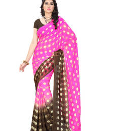 Buy Pink And Brown Printed jacquard saree with blouse brasso-saree online