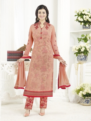 Cream embroidered santoon salwar