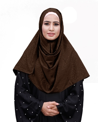 Coffee Color Embossed Chiffon Square Scarf Hijab