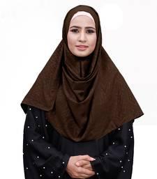 Coffee Color Embossed Chiffon Square Scarf Hijab