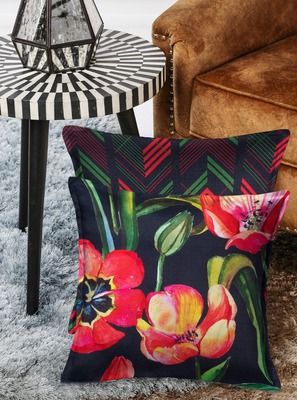 HOUZZCODE  Set of 2 Floral Square Cushion Covers