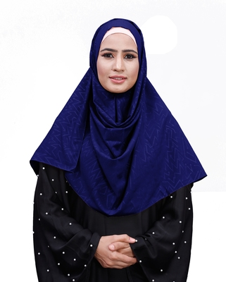 Dark Blue Color Chiffon Embossed Square Scarf Hijab