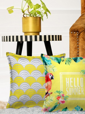 HOUZZCODE Yellow Set of 2 Floral Square Cushion Covers