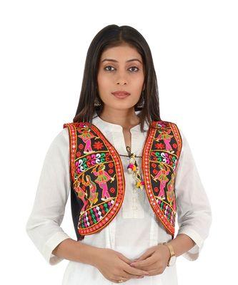 Women's Cotton Blend Kutchi Embroidered Sleeveless Short Ethnic Jacket/Koti