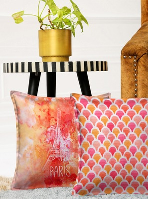 HOUZZCODE Pink Set of 2 Ethnic Motifs Square Cushion Covers