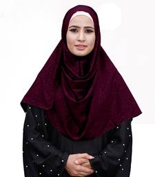 Maroon Color Embossed Chiffon Square Scarf Hijab For Women