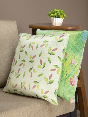 HOUZZCODE Green & Off-White Set of 2 Floral Square Cushion Covers
