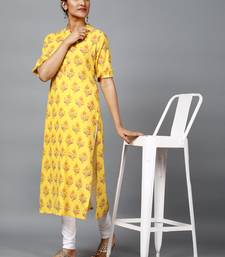 yellow floral printed cotton straight kurti